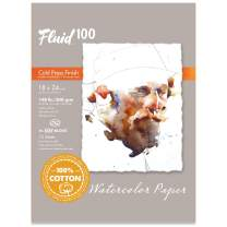 Speedball Art Products Fluid 100 Artist Watercolor Paper 140 lb Cold Press, 18 x 24 BLOCK, 100% Cotton Natural White