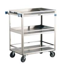 Lakeside 526 Guard Rail Utility Cart, Stainless Steel, 3 Shelves, 500 lb. Capacity (Fully Assembled)