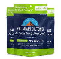 Lime Chili Kalahari Biltong, Air-Dried Thinly Sliced Beef, 2oz (Pack of 3), Sugar Free, Gluten Free, Keto & Paleo, High Protein Snack