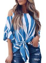 Asvivid Womens Striped Cut Out Cold Shoulder Tops 3 4 Flare Sleeve Tie Knot Blouses and Tops