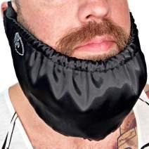 Beard Bandana - Mens Bedtime Bib Made In USA - Adjustable Facial Hair Apron Guard Bonnet Rag - Beard Gains (Short String Over Ear)