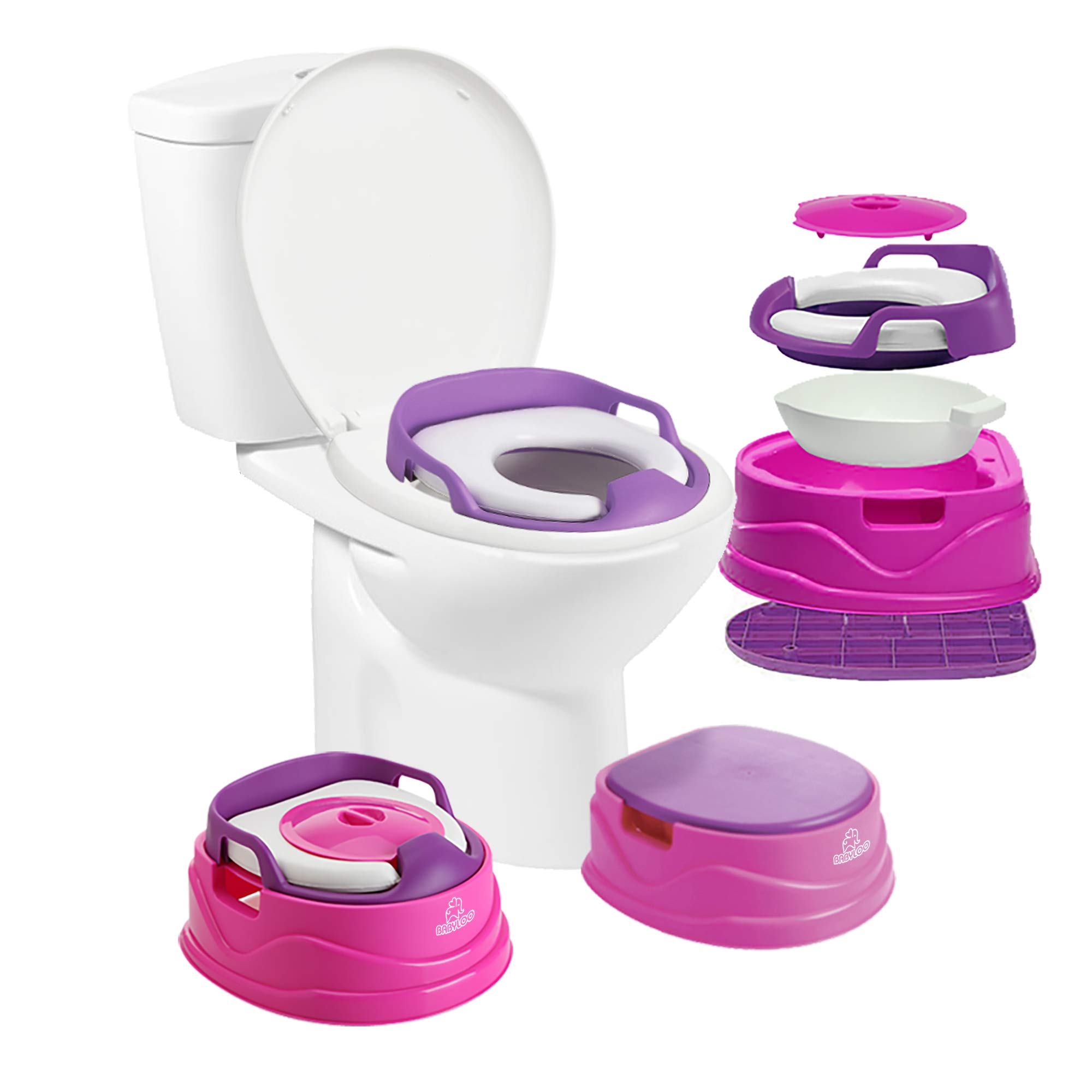 Babyloo Bambino Potty 3-in-1 Multi-Functional Children's Toilet Training Seat - 3 Convertible Stages for 6 Months and up (Pink)