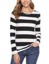 iClosam Women Striped T-Shirt Long Sleeve Tee Shirt Blouse Pajamas Top