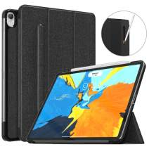 "MoKo Case Fit iPad Pro 11"" 2018 with Elastic Pencil Holder - [Support Pencil 2 Charging] Slim Lightweight Smart Shell Stand Cover Case with Auto Wake/Sleep for iPad Pro 11 Inch - Black"