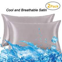 Memory Satin Pillowcases for Hair and Skin-Hypoallergenic,Wrinkle Free,Iron Free and Anti-snugging,Envelope Closure Easy to Disassemble and Wash-Resistant,Queen Size 20x30 inch Smoky Grey - 2 Pack