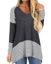 ULTRANICE Womens Long Sleeve V Neck Casual T-Shirt Striped Tunic Top