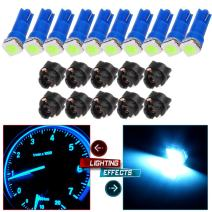 cciyu 10x Ice Blue LED & 10x Sockets Dash Instrument Panel Light Bulb T5 70 73 74 Used Replacement fit for side markers, running lights, corner & bumper lights, license plate lights etc