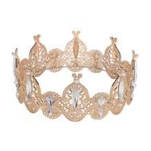 S SNUOY Crown Rhinestone Full Round Headdress for Women's Bridal Wedding Birthday Party - Gold