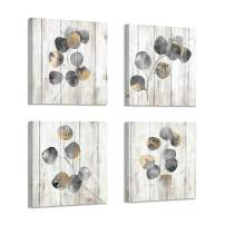 """Leaf Canvas Picture Wall Art: Botanical Plant Leaves with Wooden Texture Painting Artwork for Bedrooms Kitchen (16"""" x 16"""" x 4Panel)"""