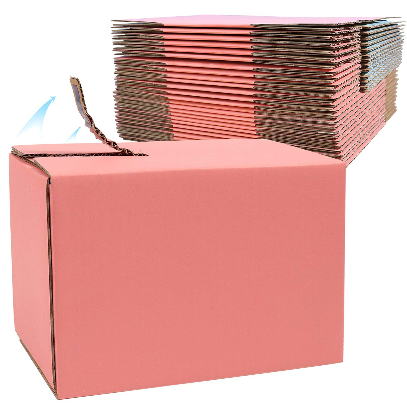 Pink Corrugated Mailer Boxes, 25 Pack 5 x 3 x 3.5 inch Sturdy Cardboard Shipping Boxes, Self Stick Zipper Packaging Boxes for Gift Mailing Business