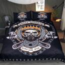 Sleepwish Mechanical Skull Bedding Set Gears Printed Black Teenage Boy Biker Skull Bedding Cyclist Themed Duvet Cover (Twin)