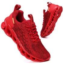 TSIODFO Sports Sneakers for Men Mesh Breathable Fashion Youth Big Boys Trail Walking Shoes Black White Red