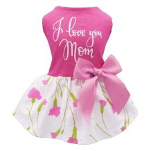Fitwarm Mother's Day I Love You Mom Carnation Dog Clothes Holiday Festival Dog Dresses Puppy Party Costumes Doggie Shirts Cat Outfits