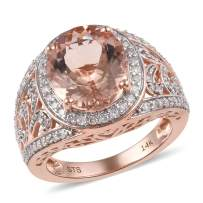 14K Rose Gold Rhodium Plated AA Premium Morganite Diamond Halo Ring Jewelry for Women Gift Ct 4.2 G-H Color I3