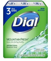 Dial Antibacterial Deodorant Soap, Mountain Fresh, 4 Ounce, 9 Bars