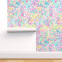 Spoonflower Pre-Pasted Removable Wallpaper, Abstract Watercolor Pastel Girls Room Dots Spots Print, Water-Activated Wallpaper, 12in x 24in Test Swatch