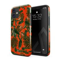 BURGA Phone Case Compatible with iPhone 11 - Neon Orange Palm Trees Leafs Tropical Exotic Summer Green Palms Heavy Duty Shockproof Dual Layer Hard Shell + Silicone Protective Cover