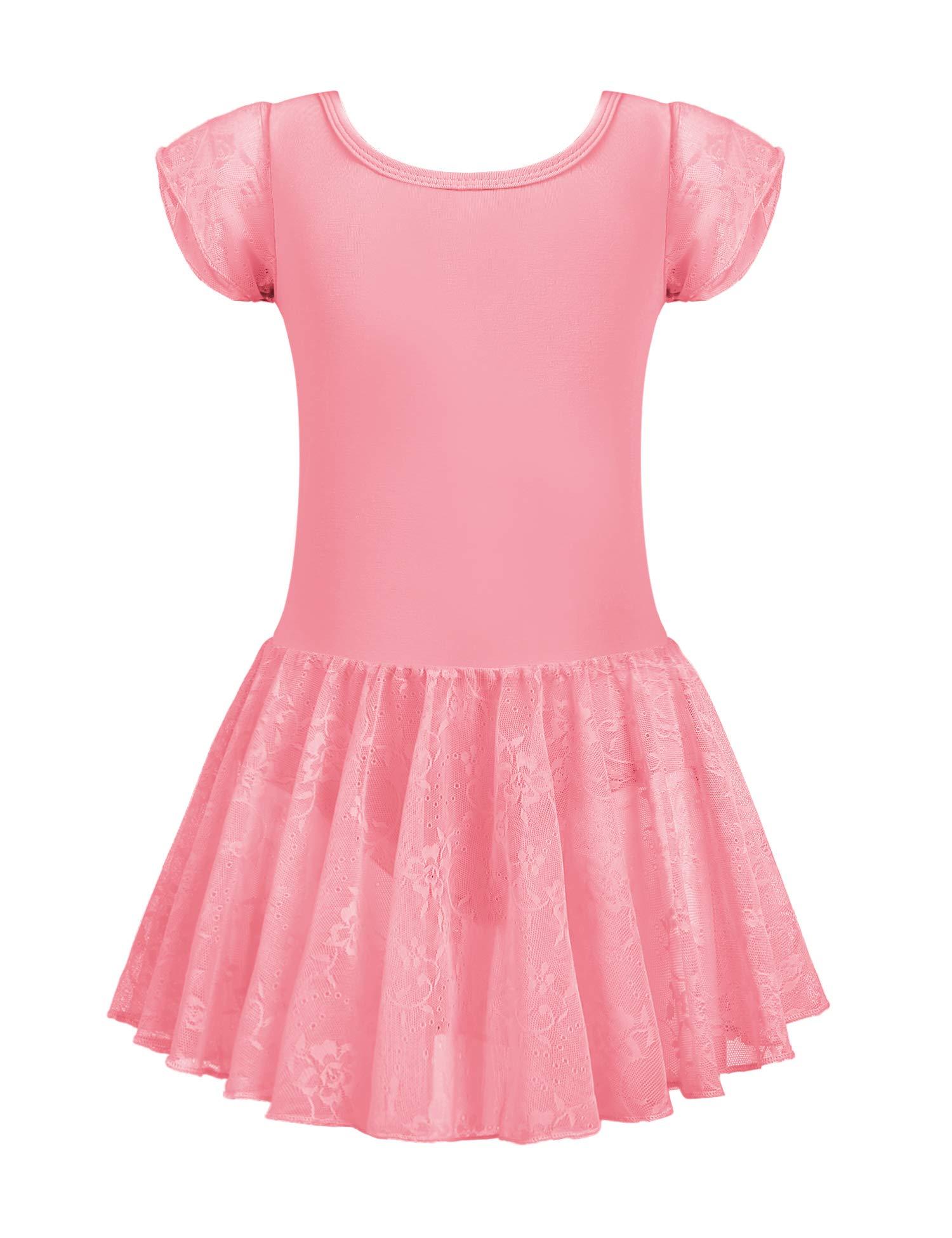 Zaclotre Girls Lace Sleeve Ballet Dance Dress Tutu Skirted Leotard