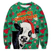 Unisex Ugly Christmas Sweatshirt Novelty Sweater Men Women 3D Print Funny Xmas Pullover Crewneck/Hoodie