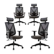 CLATINA Ergonomic High Mesh Swivel Executive Chair with Adjustable Height Head Arm Rest Lumbar Support and Upholstered Back for Home Office BIFMA Certified 4 Pack