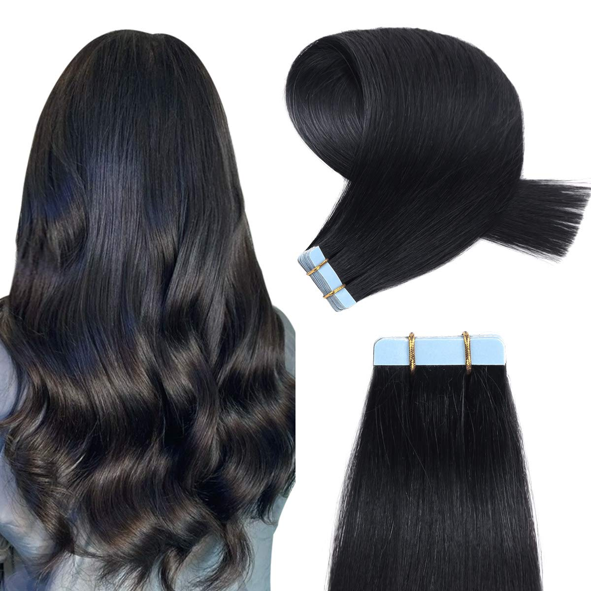 YILITE Tape in Hair Extensions Human Hair Silky Straight Remy Human Hair Extensions Tape in 20pcs 50g Jet Black Color 18 inches Tape in Extensions