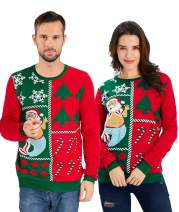 uideazone Unisex Ugly Christmas Sweaters Long Sleeve Round Neck Knitted Sweater Pullover for Xmas Party Celebrations