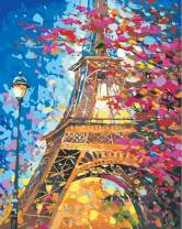 """7-Mi DIY Paint by Numbers, Canvas Oil Painting Kit for Kids & Adults, 16"""" W x 20"""" L Drawing Paintwork with Paintbrushes, Acrylic Pigment (Eiffel Tower)"""