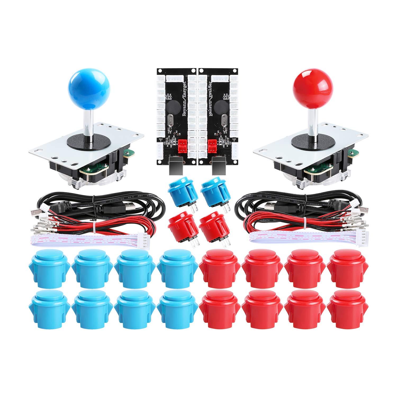 Easyget 2-Player DIY Arcade Kit USB to Joystick Arcade DIY Parts Kit for PC, Windows, MAME, Raspberry Pi - 2X Zero Delay USB Encoder + 2X Arcade Joystick + 20x Arcade Buttons Color: Red + Blue