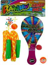 JA-RU Paddle Ball with String, Jax Game and Jump Rope (1 Pack Assorted Colors) | 3 Classic Games Bundle Rainbow Combo Pack Plus 1 Collectable Bouncy Ball. | Item #721-1p