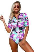 Aleumdr Womens Zip Front Printed Half Sleeve/Long Sleeve One Piece Swimsuit Swimwear S-XXL
