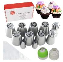 Russian Piping Tips Set - 28 Pieces Cake Decorating Tips Including Russian Icing Tips, Couplers For Piping Bags plus 15 Icing Bags - for Cakes, Cupcakes, and Other Desserts Boquillas para Reposteria