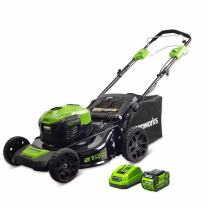 Greenworks 21-Inch 40V Self-Propelled Cordless Lawn Mower and 40V 5.0 AH Lithium Ion Battery with Charger