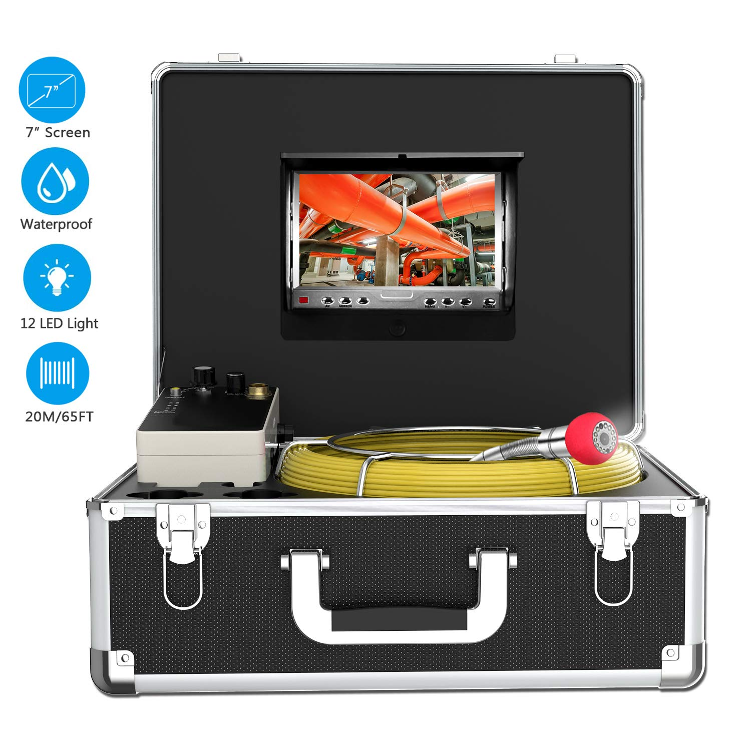 Endoscope Camera, 20M/65ft Pipe Camera 7 inch LCD Monitor Scope CameraDuct HVAC 1000TVL Sony CCD Borescope Sewer Camera Waterproof IP68Pipeline Inspection Snake Cam (7D1N-20M-Without DVR)