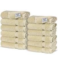 Chakir Turkish Linens Turkish Cotton Luxury Hotel & Spa Bath Towel, Wash Cloth - Set of 12, Beige