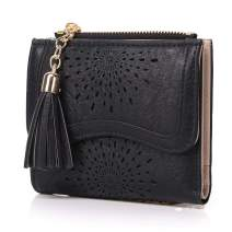 Women's RFID Wallet Small Compact Bifold PU Leather Mini Tassel Purse with ID Window Pocket Hollow Out Pattern/Gift Box