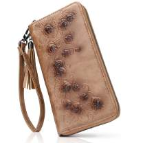 Women Wallet RFID Blocking Phone Purse Embossed PU Leather Credit Card Holder Cases Gift Box 1022 (COFFEE)
