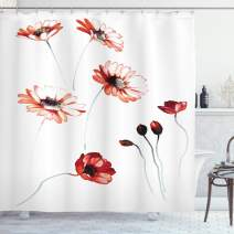 "Ambesonne Watercolor Flower Shower Curtain, Flower in Watercolor Painting Style Romantic Dramatic Nature Elements, Cloth Fabric Bathroom Decor Set with Hooks, 84"" Long Extra, Burgundy White"
