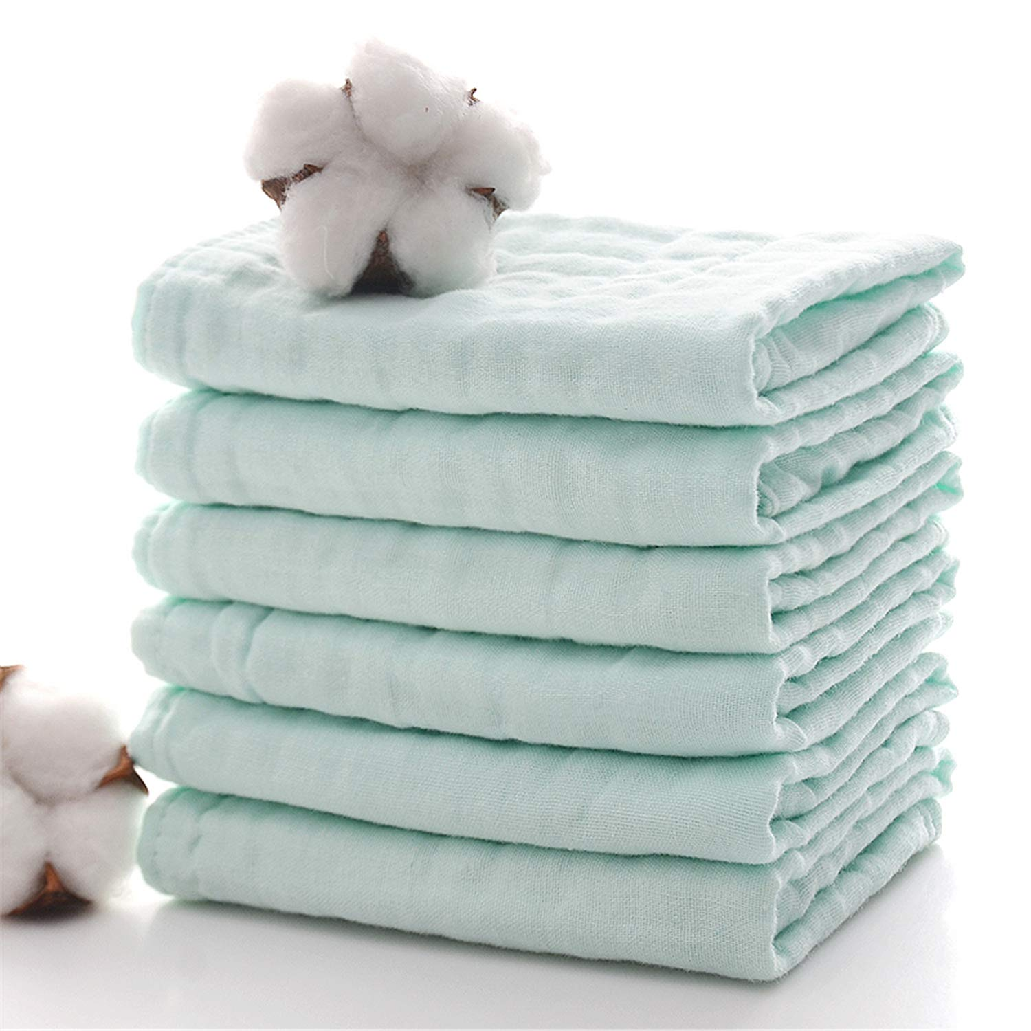 Baby Bath Washcloths by MUKIN - Muslin Face Towels for Newborn,Ultra Soft Wash Cloths for Babies | Baby Wipes for Baby Sensitive Skin | Perfect Baby Shower Gift.12''X12'' (Set of 6) Green