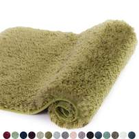 Walensee Bathroom Rug Non Slip Bath Mat for Bathroom Water Absorbent Soft Microfiber Shaggy Bathroom Mat Machine Washable Bath Rug for Bathroom Thick Plush Rugs for Shower (16 x 24, Olive Green)