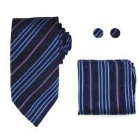 Y&G Men's Fashion Multicolored Patterns Tie Cufflinks Hanky Set 3PT Formal Wear Silk Necktie