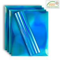 Holographic Stretchable Metallic Heat Transfer Vinyl Iridescent Blue Foil, Iron On HTV Bundle for DIY Your Own Clothes, 12x10 Inch, Pack of 5 Sheets, Eco-Friendly