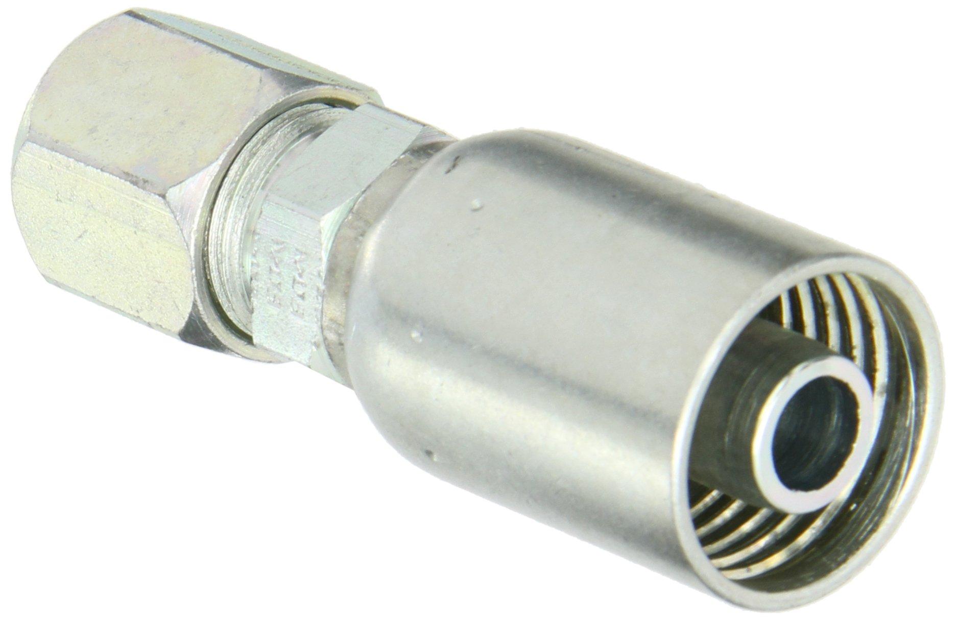 """EATON Weatherhead Coll-O-Crimp 08U-758 Flareless Tube Rigid Fitting, Low Carbon Steel, 1/2"""" Hose ID, 1/2"""" Tube Size"""