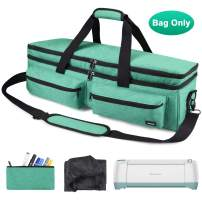 Craft Double-Layer Tote Bag Compatible with Cricut Explore Air, Air 2, Maker and Silhouette Cameo 3, Tool Carrying Case for Cutting Machine and Supplies Travel Bag, Green