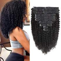 Rolisy Kinkys Curly Clip in Hair Extensions Afro 3C 4A Kinky Curly Clip ins Real 8A Brazilian Remy Hair for Black Women Double Lace Wefts Hair,Natural Black Color,10 Pcs,120 Gram,22 Inch