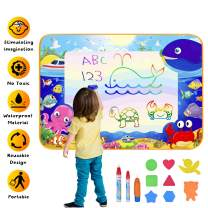 """Yomeie Aqua Magic Mat, Water Doodle Drawing Mat for Toddlers, Large 39.5""""x27.5"""" Water Painting Doodle Mat, Educational Toys Gifts for 3 4 5 6 7 8 9 Year Old Girls Boys Kids"""