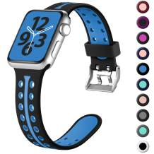 Laffav Sport Band Compatible with Apple Watch Band 38mm 40mm 42mm 44mm for Women Men, Breathable Soft Silicone Replacement Wristband Compatible for iWatch Series 5 4 3 2 1, S/M M/L