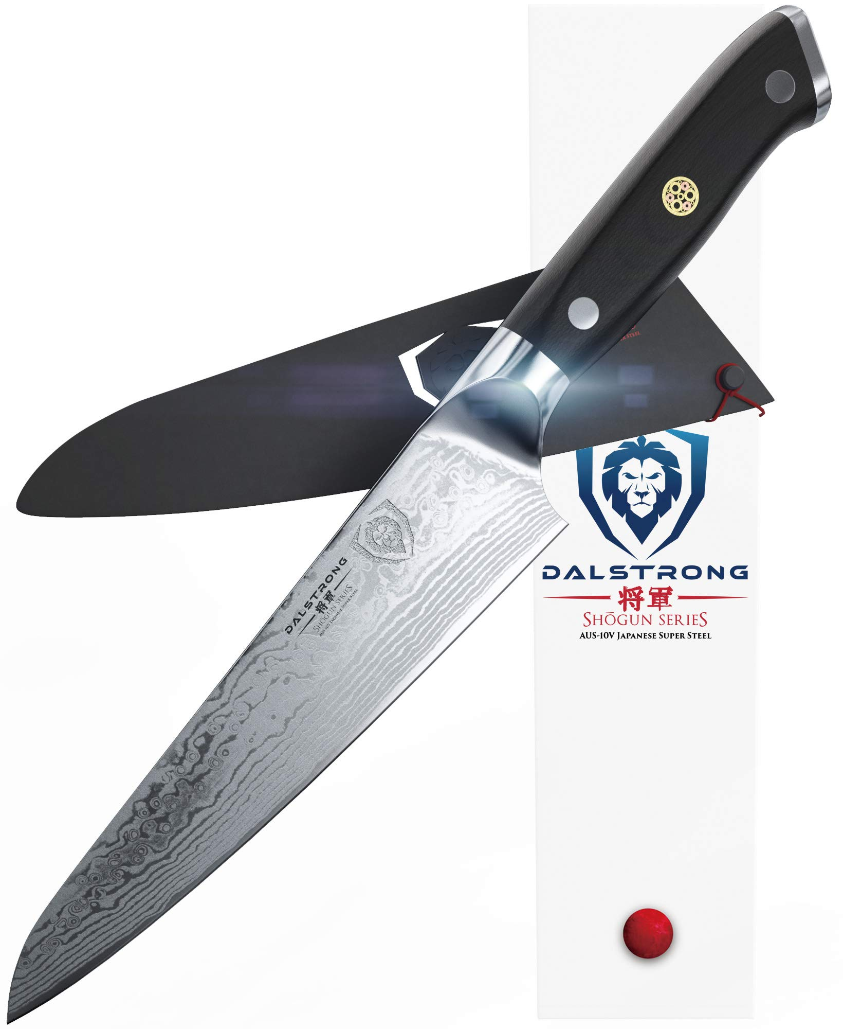 """DALSTRONG Chef's Knife - Shogun Series - Damascus - Japanese AUS-10V Super Steel - Vacuum Treated (7"""" Chef Knife, Black)"""
