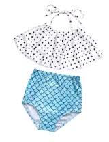 itkidboy Baby Girl Swimsuit Two Piece Tankini Kids Mermaid Swimwear Ruffle Polka Dot Kids Outfit Bathing Suit