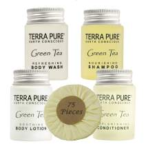 Terra Pure Hotel Size Toiletries Set | 1-Shoppe All-In-Kit Amenities For Hotels, Airbnb & Rentals | 1 oz Hotel Shampoo & Conditioner, Body Wash, Body Lotion & 1.25 oz Bar Soap | 75 Piece Travel Set
