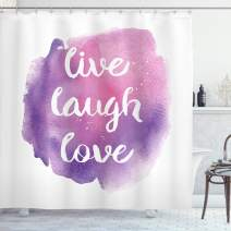 """Ambesonne Live Laugh Love Shower Curtain, Wise and Happy Life Message on Watercolor Paintbrush Effects Print, Cloth Fabric Bathroom Decor Set with Hooks, 75"""" Long, Purple White"""